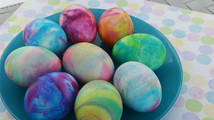 Frothy fun: dyeing Easter eggs in shaving cream