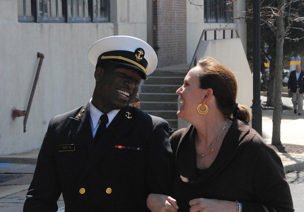 Midshipman Joshua Tate leaves with an unidentified friend after being acquitted of sexually assaulting a Naval Academy classmate at Washington Navy Yard court