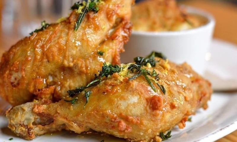 Venkman's serves filling brunch dishes like this locally sourced fried chicken.