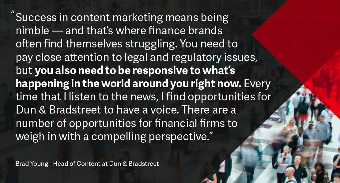 Brand Young Financial services content marketing quote