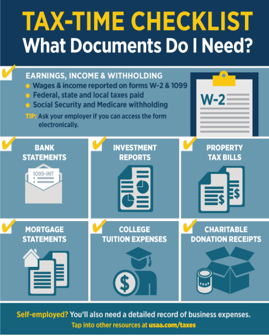 Tax time checklist what documents do i need cta need help visit usaas tax center falaconquin