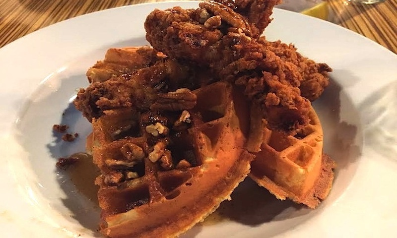 You can't go wrong with chicken and waffles at brunch.