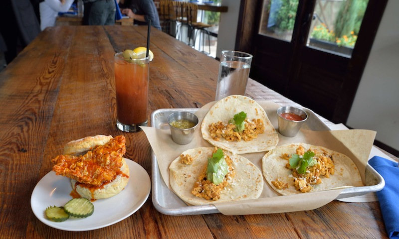 The hot chicken biscuit and breakfast tacos are must orders at Ladybird.