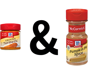 McCormick Turmeric, Ground and McCormick Pumpkin Pie Spice