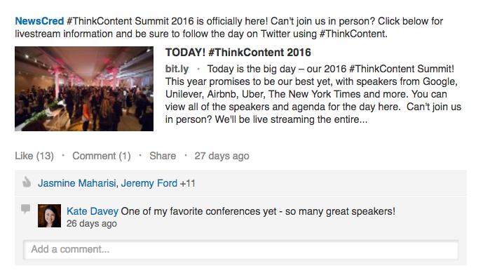 NewsCred LinkedIn #ThinkContent Social Media