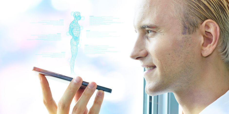 Artificial intelligence hologram robot adviser technology concept.Male doctor use smartphone ai wireframe popup screen application for ask question or check patient case body in smart hospital or lab.