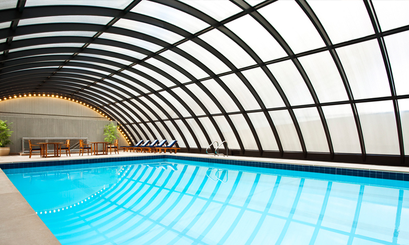 The pool is an inviting way to relax year-round.