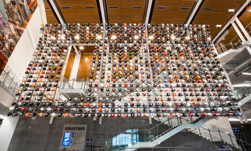 Find your team on the Helmet Wall at the Chick-fil-A College Football Hall of Fame.