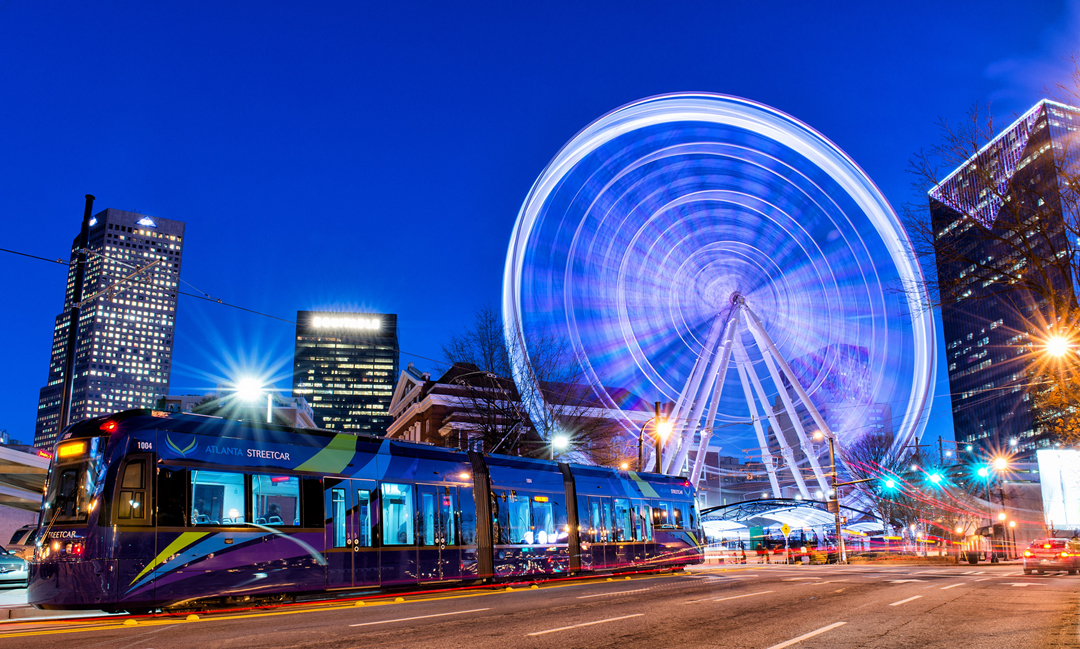 Ride the Atlanta Streetcar to popular locations around downtown on your getaway with friends