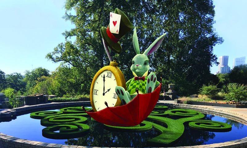 The theme of the new Imaginary Worlds exhibit at Atlanta Botanical Garden is Alice's Wonderland.