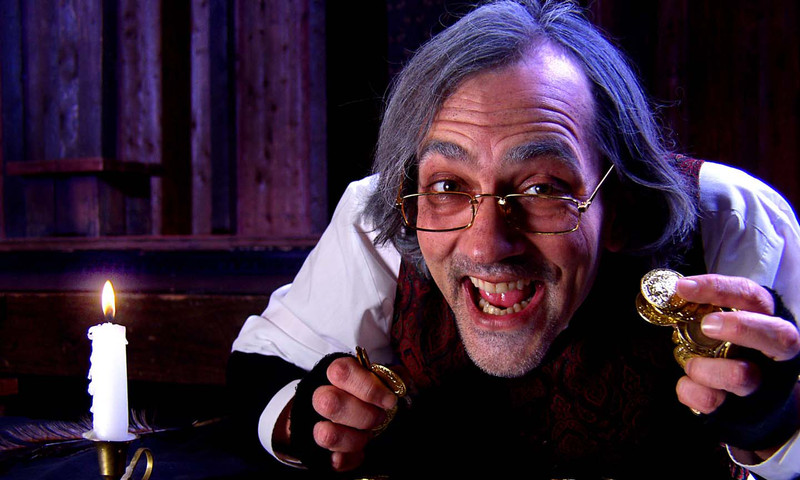"Actor Drew Reeves performs in Shakespeare Tavern's version of ""A Christmas Carol."" (Jeff Watkins photo)"