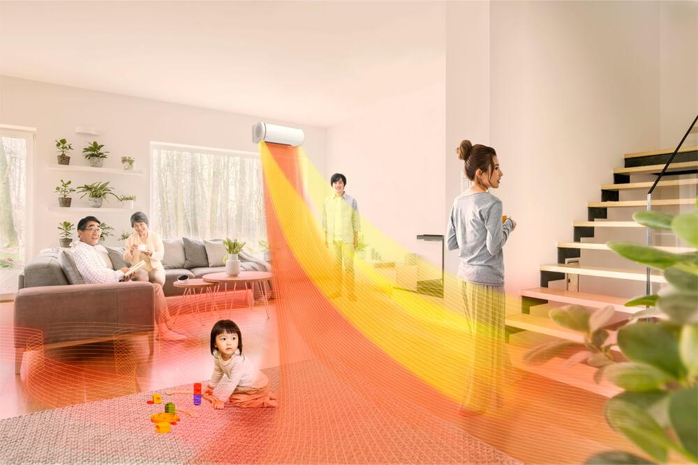メインビジュアル : 利用シーンに応じて室温を自動で変更。居住者の好みに合わせて成長する「AIエアコン」