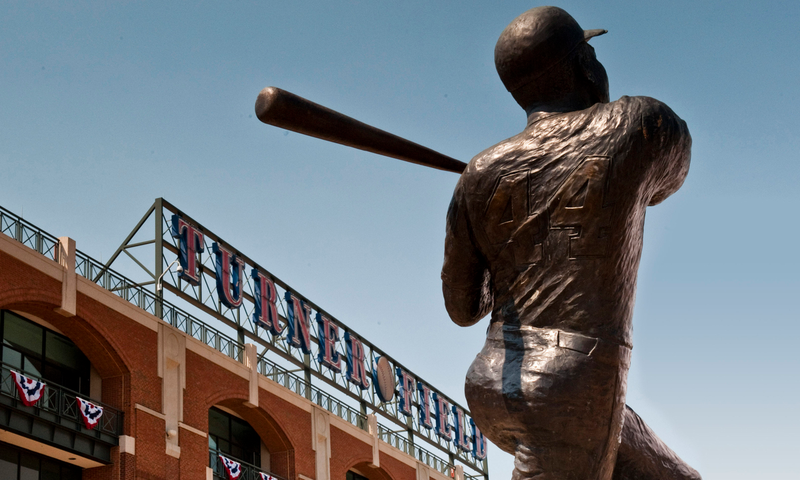Hammerin' Hank Aaron, the all-time home run king, still works for the Braves.