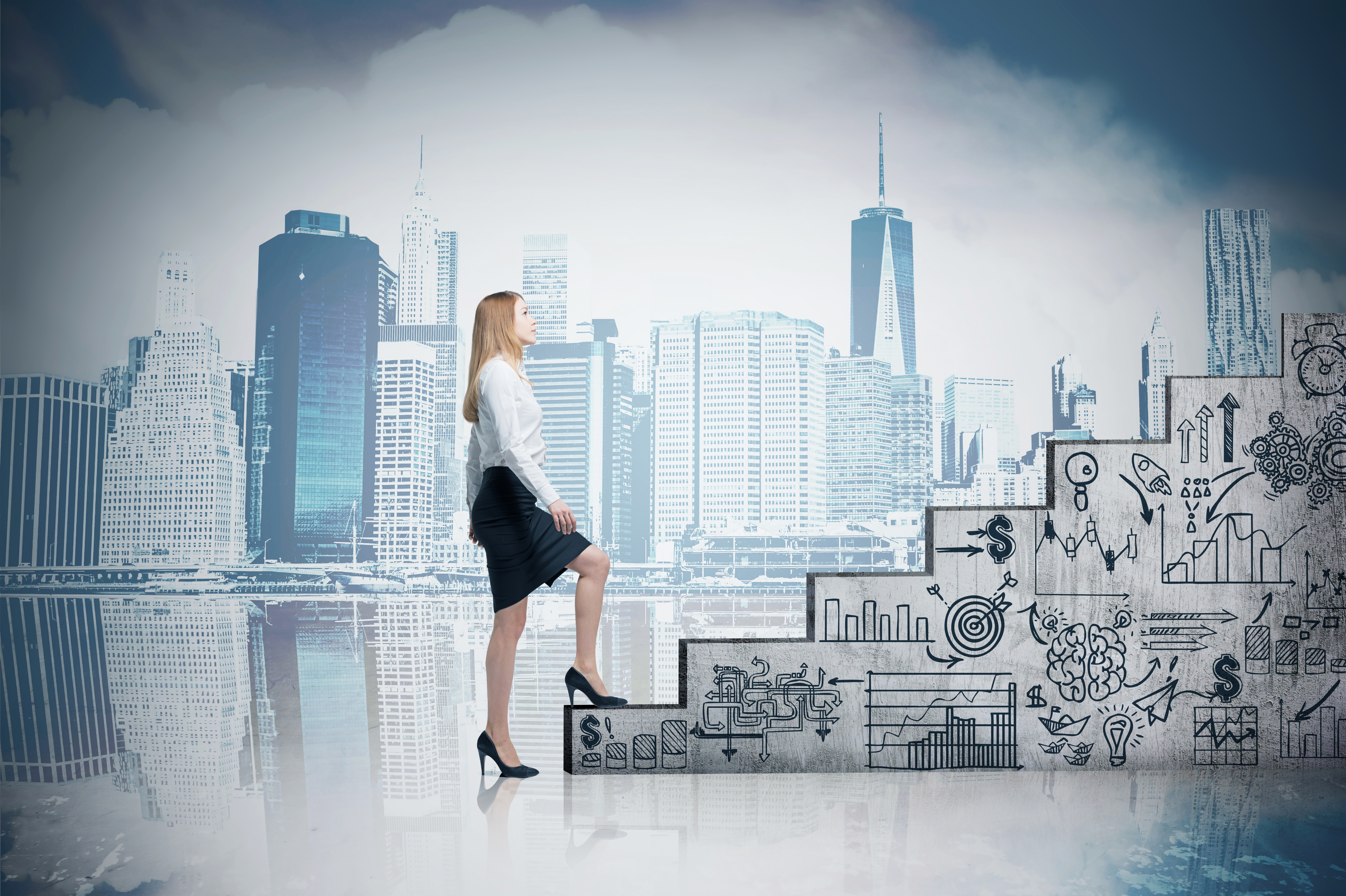 Woman climbing stairs and cityscape