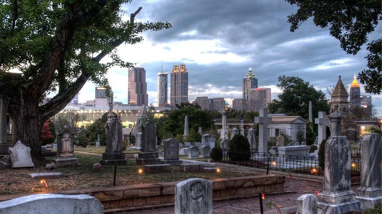 Atlanta Oakland Cemetery Skyline
