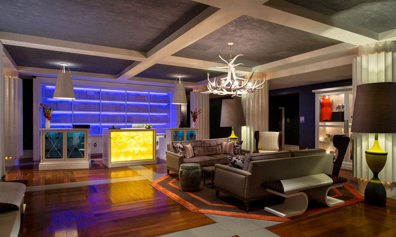 The lobby of the W Hotel Atlanta is a mixture of comfort and eclectic design.