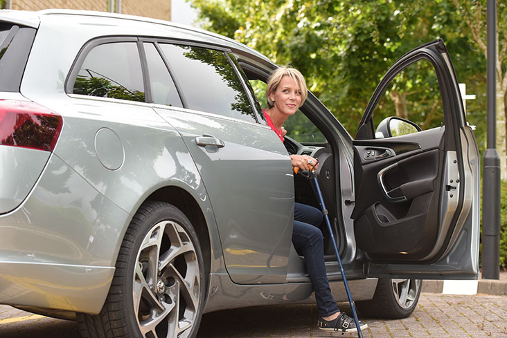 Motability Scheme customer exiting their car
