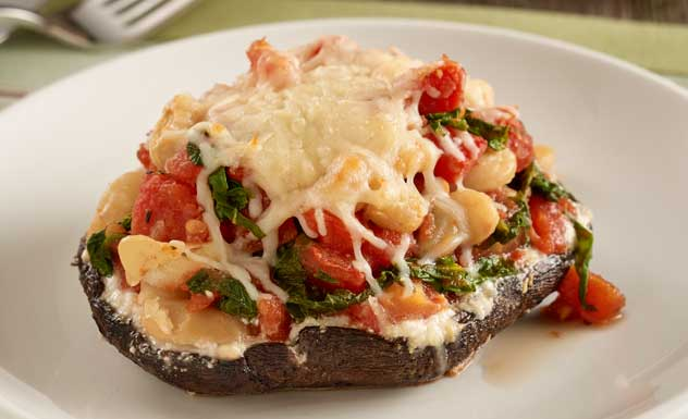 Kale Tomato and Cheese Stuffed Mushrooms