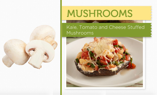 Kale, Tomato, and Cheese-Stuffed Mushrooms Recipe