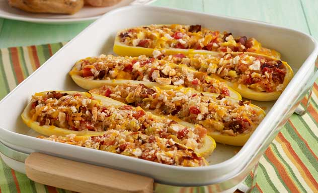 Stuffed Yellow Squash with Bacon